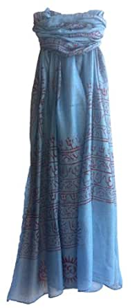 Om Mantra Scarf/Shawl Lightweight Cotton Hand Block Printed in India (Blue)