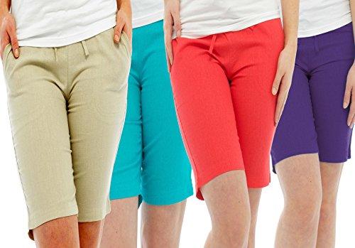 Damen Sommer Urlaub 4 Shorts Pack Qualität Leinen in Beige Blaue Koralle und Türkis Beige - Beige Blue Coral & Turquoise
