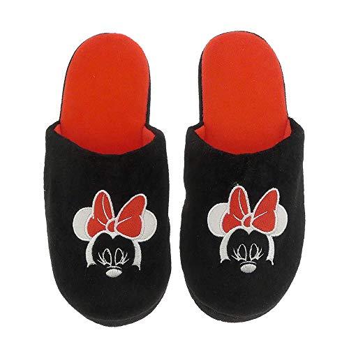 Hausschuhe Damen weich Disney Minnie Mouse schwarz warm Kinder Schlappen Slipper - 36/37-38/39-40/41 - (35-38)