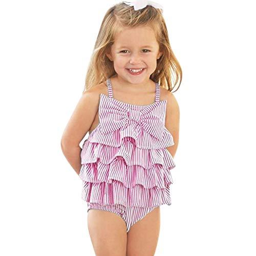 JERFER Softshell Overall Ärmellose Gestreifte Babykleidung mit Rüschen und Schleife -