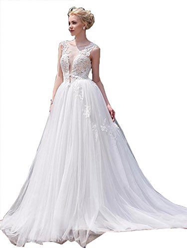 Fanciest Damen Straps Cap Sleeve Scoop Tulle Spitzen Brautkleider for Bride Ivory UK14