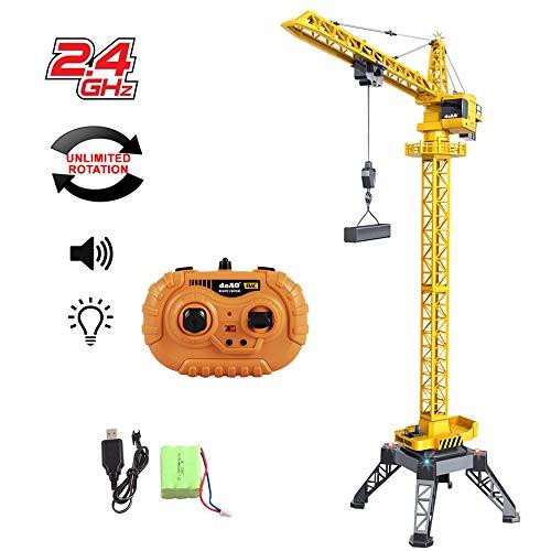 deAO RC Baumaschinen 122 cm hoher Turmdrehkran mit 12-Kanal-Funksteuerung, Druckguss-LKW, unbegrenzter Drehung, Lichtern und Geräuschen