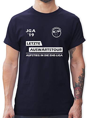 JGA Junggesellenabschied - JGA 2019 Letzte Auswärtstour Bräutigam - L - Navy Blau - L190 - Herren T-Shirt Rundhals
