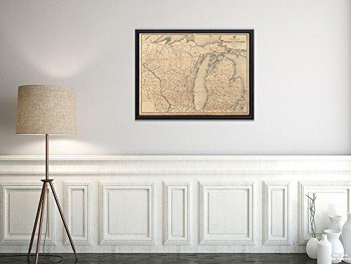 New York Karte Company (TM) 1891Karte Michigan|Wisconsin Post Route der Staaten Michigan und Wisconsin mit Parts|Historic Antik Vintage Reprint|Ready Zum Rahmen (Karten Von Michigan)