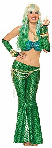 (shoperama Leggings für Meerjungfrau Kostüm Damen Mermaid Hose Gr. 34-38, Farbe:Grün)