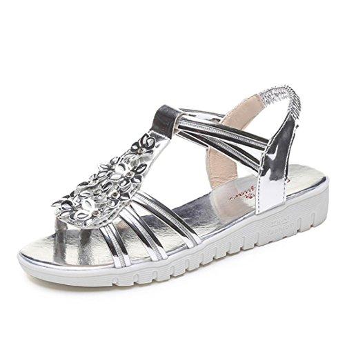 Sommer Schuhe für Damen,Kaiki Dick Soled Sandalen Weibliche Sommer Flache Sandalen Match Freizeit Frauen Sandalen Silver