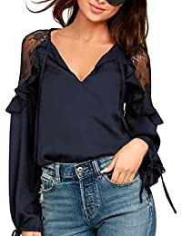 Blooming Jelly Women s Lace Cold Shoulder Tops Tie V Neck Long Sleeve Top  Drawstring Loose Ruffle 5985f203b