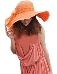 Autek cap Plage Chapeau De Paille Femme/Chapeau Anti Soleil/Chapeau Touristique Large bord Été Pliable orange