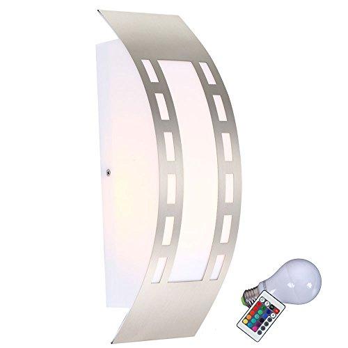 Wand Leuchte Außen Beleuchtung Fernbedienung Lampe dimmbar im Set inklusive RGB LED Leuchtmittel (Außen Wand Dekor)