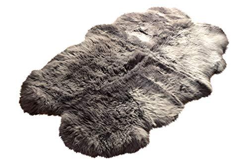 Naturasan Lammfell Schaffell Quadro aus 4 Fellen ca. 180x100 cm, Quadro, Grau