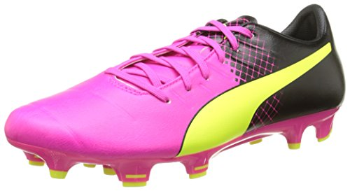 PumaevoPOWER 3.3 Tricks FG - Scarpe da Calcio Uomo , Rosa (Pink (pink glo-safety yellow-black 01)), 45