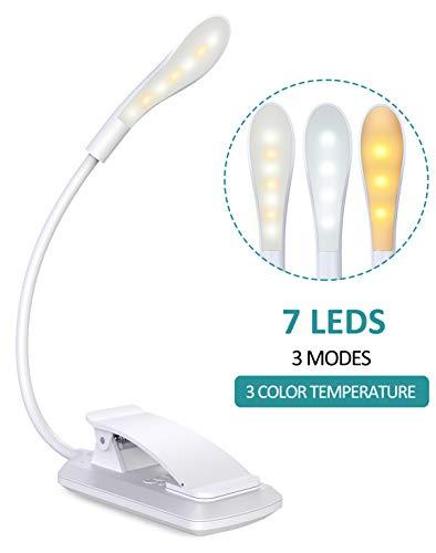 Cocoda Lampe de Lecture Rechargeable, 360° Cou Flexible Liseuse Lampe Clip, 3 Température de Couleur & 3 Niveaux de Luminosité, Interrupteur Tactile, 7 LED Mini Veilleuse pour Nuit, eReaders, Voyage