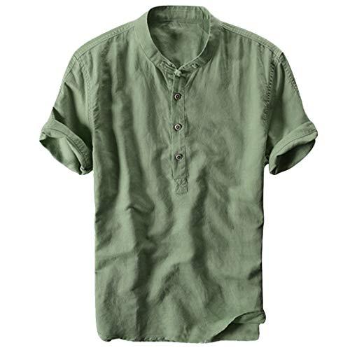 T-Shirt Herren,ESAILQ Herren Sommer gestreifte Knöpfe fliegen atmungsaktiv Kurzarm Casual Henley Shirts -