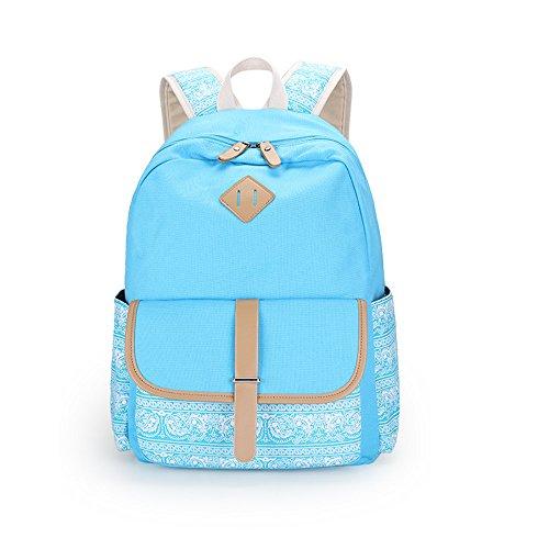 Fashion Leichte Canvas Bookbags Schule Rucksäcke für Teen Mädchen Navy blue 2