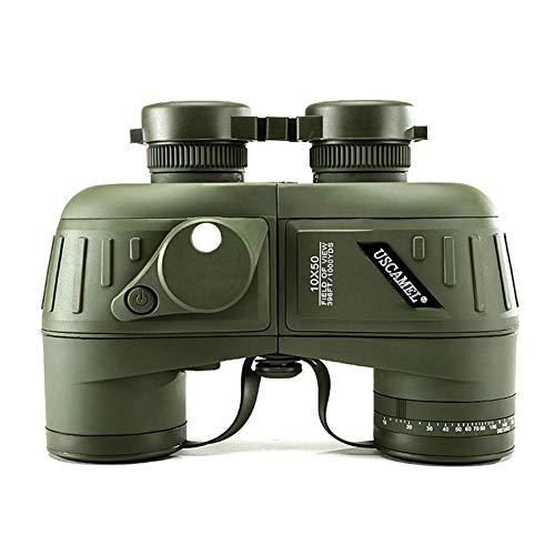 WYLDDP Prismáticos Militares 10X50 para Adultos,prismáticos HD con brújula de navegación y telémetro, Lente BAK4 Prism FMC Adecuada para Caza, esquí de Fondo y Viajes