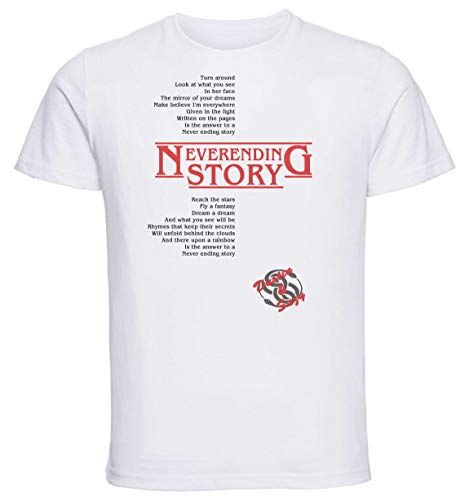 Instabuy T-Shirt Unisex - White Shirt - Stranger Things 3 - Neverending Story - Dustin & Suzy Song - Asimetric Size Extra Large