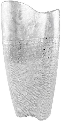 BRUBAKER Tisch- oder Bodenvase 34,5 cm Höhe Porzellan silberfarbig