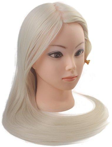Tête à coiffer de cosmétologie 60 cm avec cheveux synthétiques blonds, tête pour s'entraîner à coiffer.