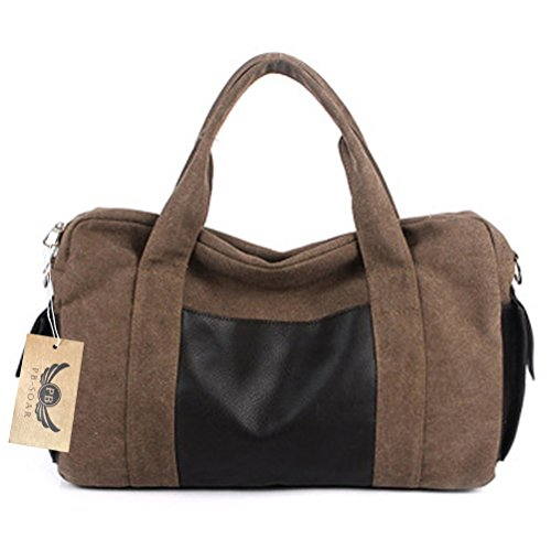 PB-SOAR Unisex Vintage Canvas Weekender Reisetasche Handgepäck Henkeltasche Schultertasche Sporttasche Multifunktional Tasche (Grau) Braun
