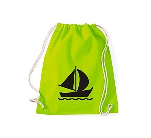 Shirtstown Sacca ginnastica Borsa palestra Barca a vela, Gommone, Skipper, Capitano, Molti colori - bianco, 37 cm x 46 cm lime