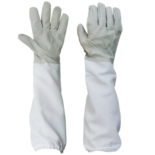 Generic Pair Protective Beekeeping Gloves, Goatskin Bee Keeping with Vented Long Sleeves - Grey and White
