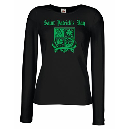 Weibliche Langen Ärmeln T-Shirt Saint Patrick's Day Shamrock Symbol - Irish Party time (XX-Large Schwarz Mehrfarben)