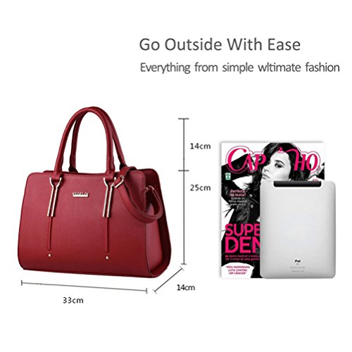 Honeymall Damen Elegant Henkeltasche Reisetaschen Mädchen Schule Taschen Rucksäcke PU Leder Handtasche(Weiß) Wein