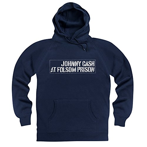 Official Johnny Cash Felpa con cappuccio Folsom Prison, Uomo, Blu navy, XL