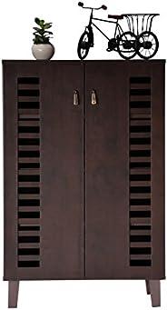 DeckUp Awana 2-Door Shoe Rack (Dark Wenge, Matte Finish)