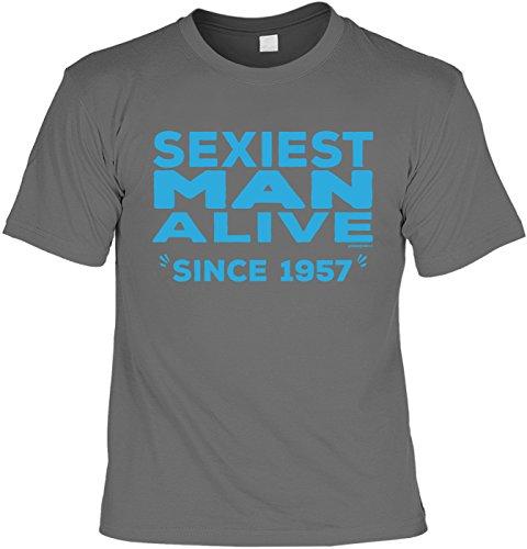 T-Shirt zum 60. Geburtstag Sexiest Man Alive Since 1957 Geschenk zum 60 Geburtstag 60 Jahre Geburtstagsgeschenk 60-jähriger Anthrazit