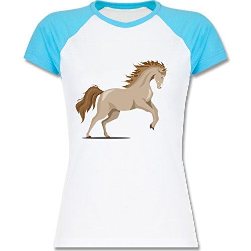 Shirtracer Pferde - Steigendes Pferd - Zweifarbiges Baseballshirt/Raglan T- Shirt für Damen Weiß