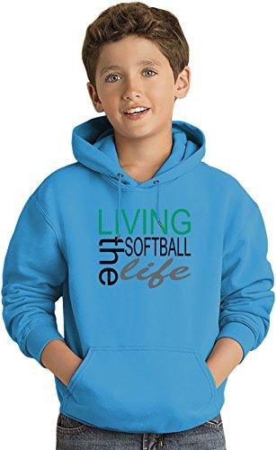 Living The Softball Life Funny Slogan Kinder Leicht Kapuzenpullover Lightweight Hoodie For Kids   80% Cotton-20%Polyester 