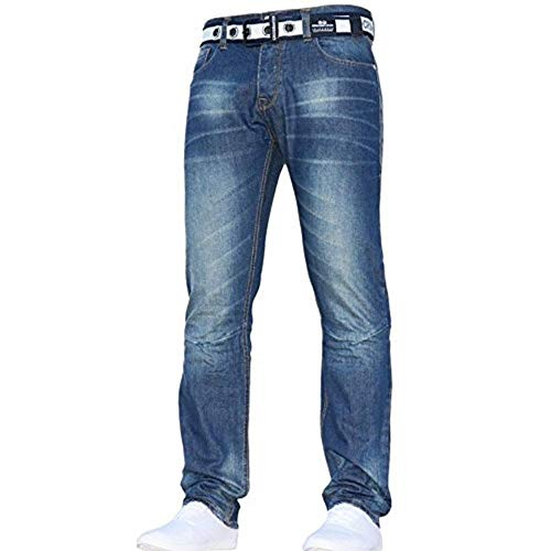 Crosshatch Mens Neue Gamitto Straignt Bein Jeans Mitte Waschen W44- L32