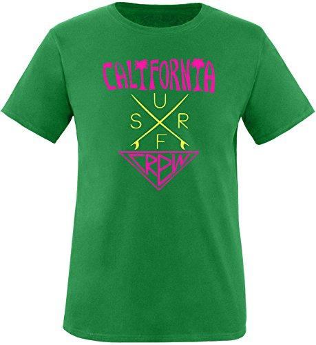EZYshirt® California Surf Crew Herren Rundhals T-Shirt Grün/Pink/Gelb