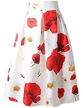 Targogo Mujer Falda Plisada Años 50 A-Line Vintage Swing Elegantes Falda Medium Largos Estampado Flores Jacquard...