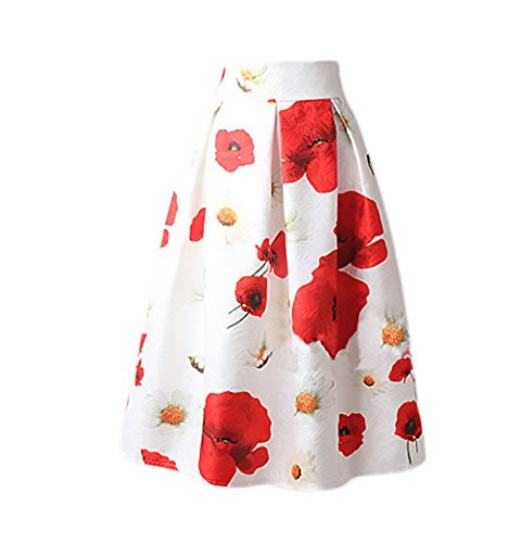 Targogo Mujer Falda Plisada Años 50 A-Line Vintage Swing Elegantes Falda Medium Largos Estampado Flores Jacquard Faldas Midi Ropa En Oferta
