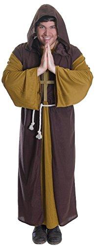 Friar Erwachsene Für Kostüm Tuck - Herren Braun Friar Tuck Robin Hood Mittelalter Mönch Religiöse Fancy Kleid Kostüm Outfit