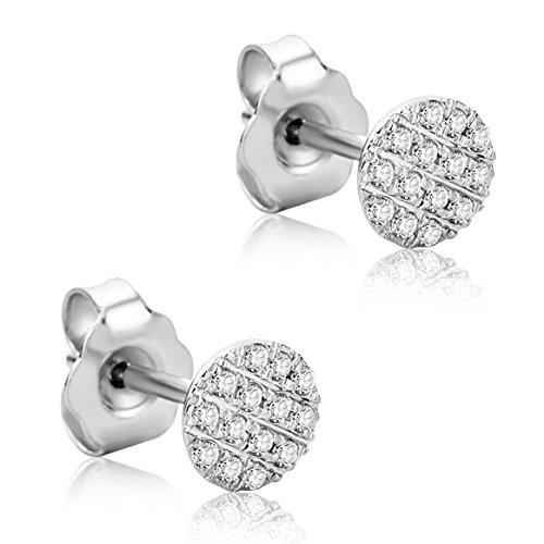 5de3ea38a791 Orovi Pendientes Señora Pavé presión en Oro Blanco con Diamantes Talla  Brillante 0.13 ct Oro 18