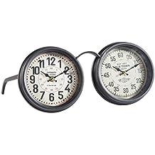 Doble Reloj De Mesa De Forja Negro De Horas Y Minutero
