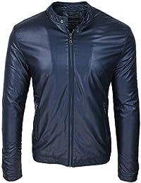 superior quality 41409 91a0e Amazon.it: giubbotto ecopelle uomo - Blu / Uomo: Abbigliamento