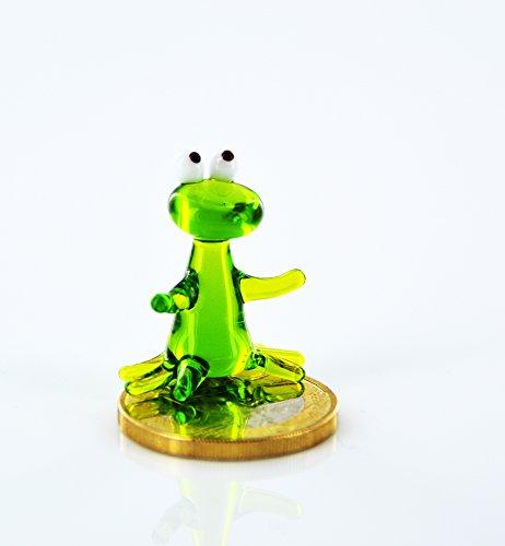 Frosch Grün Mini - Miniatur Figur aus Glas - Kleiner Grüner Frosch - Glasfigur k-7 Deko Setzkasten Vitrine (Figur Frosch-sammler)