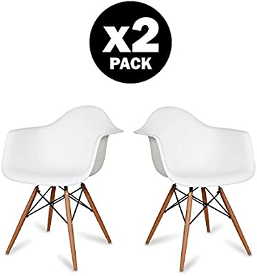 Comfortableplus Pack de 2 Silla Eames DAW Style Blanco