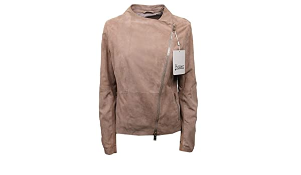 Dettagli su C0218 giacca donna HERNO vintage pelle beige light brown suede jacket woman