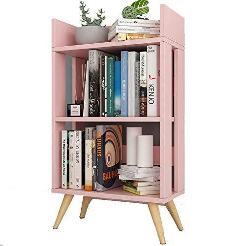 Weiße Dünne-speicher-kabinett (IVNZEI Bücherregal Mehrschichtiger einfacher Boden-Kombinations-Kleiner Bücherschrank, Kinderbücherregal-Fester hölzerner Speicher-Kabinett (Color : Pink))