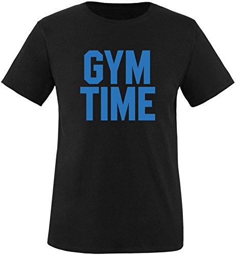 EZYshirt® Gym Time Herren Rundhals T-Shirt Schwarz/Blau