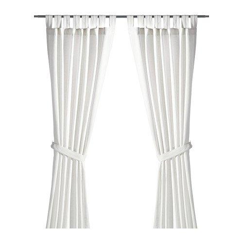"""IKEA \""""LENDA\"""" 2 Gardinen + Raffhalter, weiß gebleicht (140x300 cm)"""