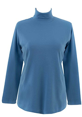 adonia mode Rolli Shirt Langarm Rollkragen Stretch , Gr.44/46 - 48/50 Rauch-Blau