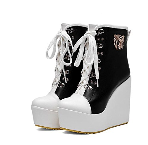 LvYuan Damen Stiefeletten / Lackleder / Büro & Karriere / High Wedge Ferse / Comfort / Lace-up Oxfords / Martin Stiefel / Outdoor Casual Flatform Schuhe Black