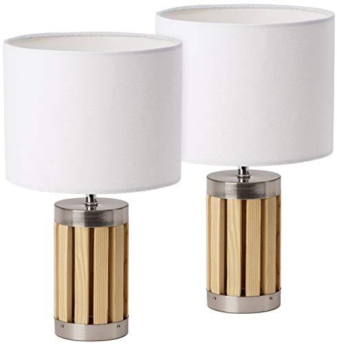 BRUBAKER - Lampe de table/de chevet - Lot de 2 - Design moderne - Hauteur 33 cm - Pied en Bois & Métal - Abat-jour en Tissu/Beige