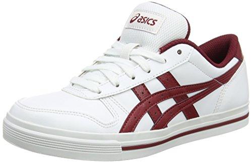 Asics Aaron, Baskets Basses Mixte Adulte Blanc (White/Burgundy)